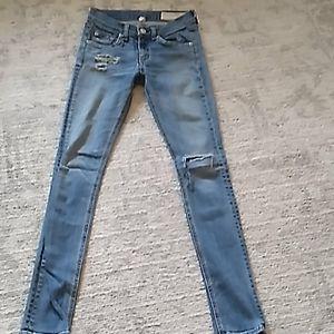 Light wash 'destroyed' rag and bone skinny jeans